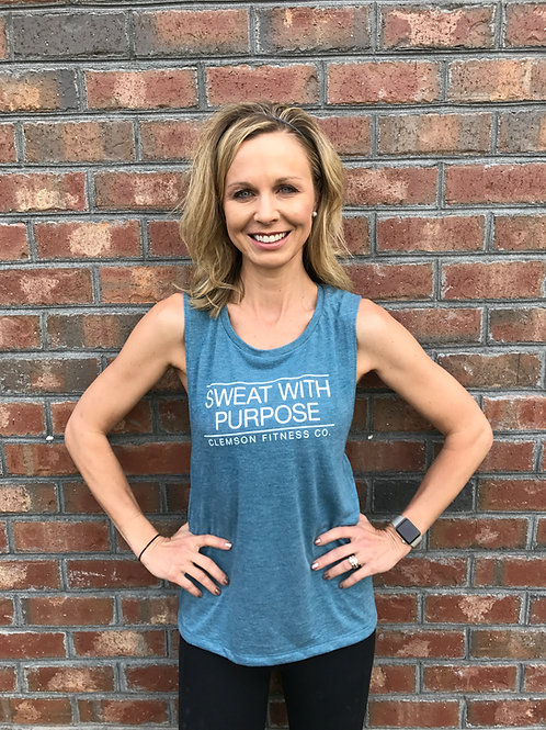 Sweat With Purpose Vintage Teal Muscle Tank