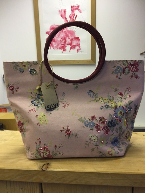 2d80fa42fe22 BODEN Pink Floral Canvas Tote Bag With Round Carry Handle NWOT