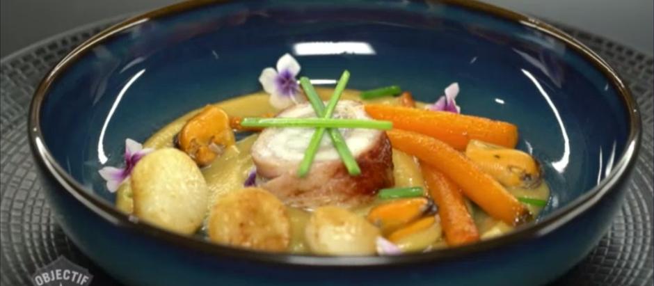 Mon plat signature à Objectif Top Chef: Bar lardé, légumes d'hiver, pois-chiches, ravigote de moules