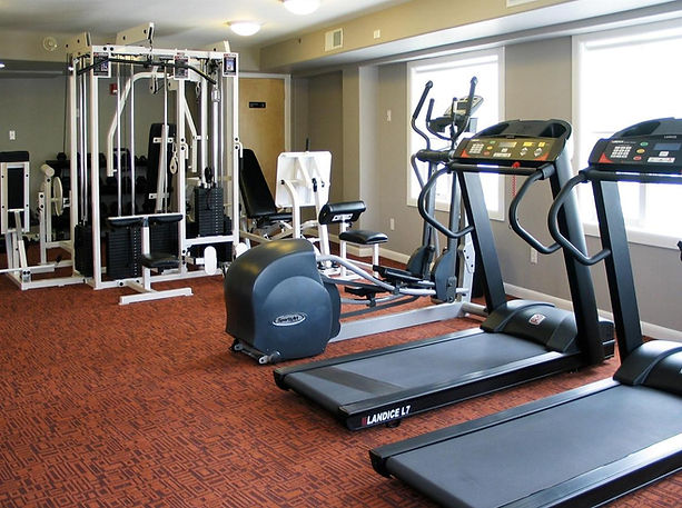 Fitness center with tredmills and workout equipment.