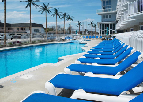 Lounge chairs by the pool.