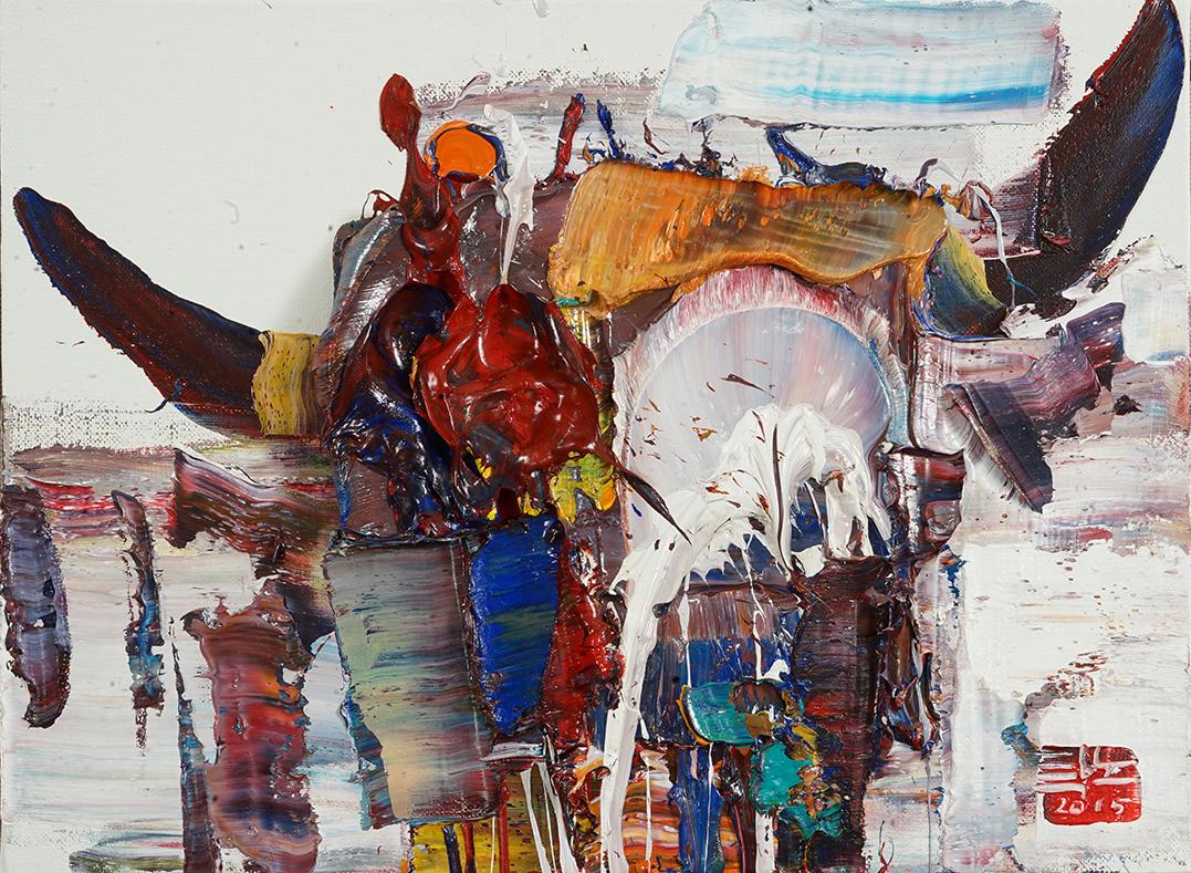 Wild aura 2015 bull 050, Oil on canvas, 45.5x33.4cm, 2015