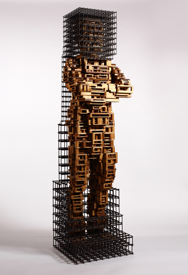 Build life-man1(인생건축-남자1)_wood(나무),steel(철)_2014