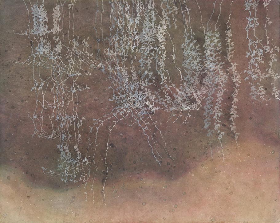 등 뒤에서, 장지에 채색, 90.5x72.5, 2016