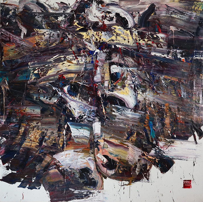 Wild aura 2015 bull 016, Oil on canvas, 200x200cm, 2015