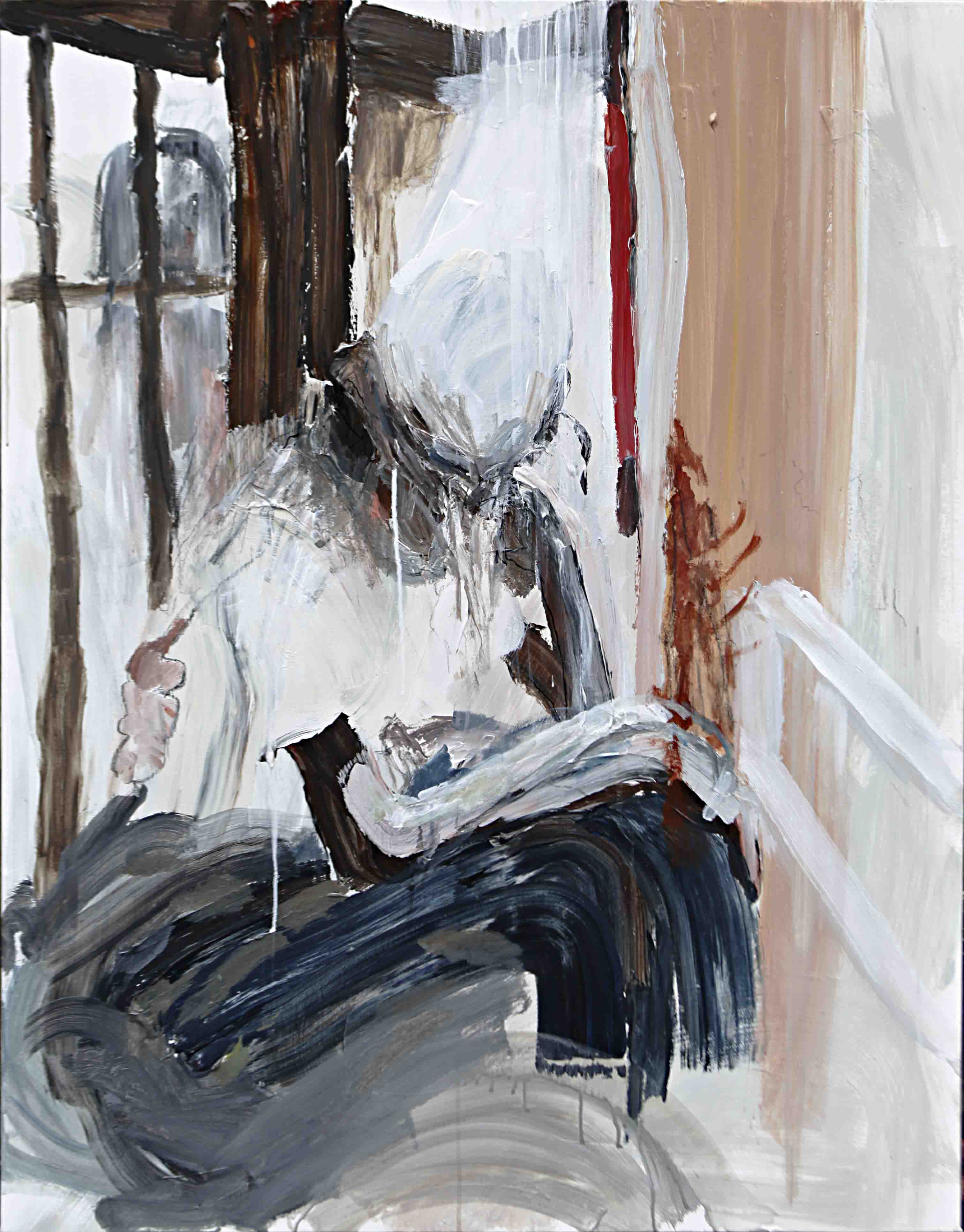 사이공간14, 116.7 x 91 cm. pen, acrylic on canvas, 2015