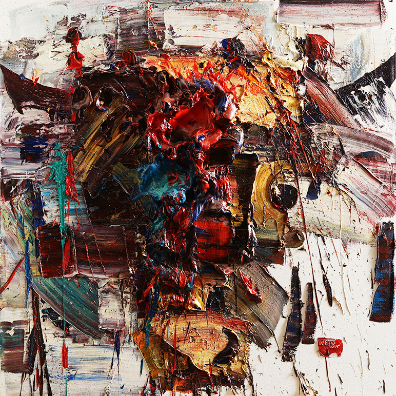 Wild aura 2015 bull 046, Oil on canvas, 130.3x130.3cm, 2015