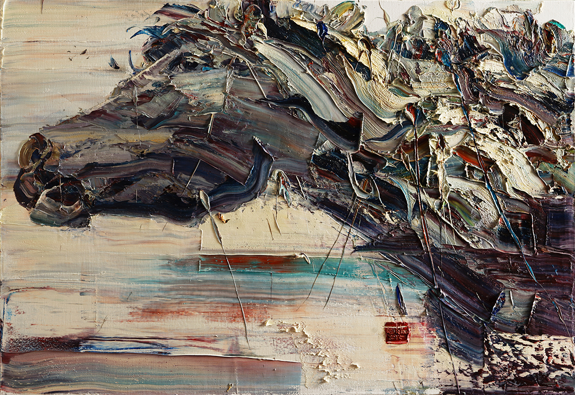 Wild aura 2015 horse 004, Oil on canvas, 116.8x80.3cm, 2015