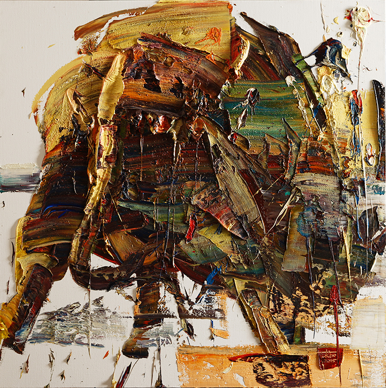 Wild aura 2015 bull 040, Oil on canvas, 100x100cm, 2015