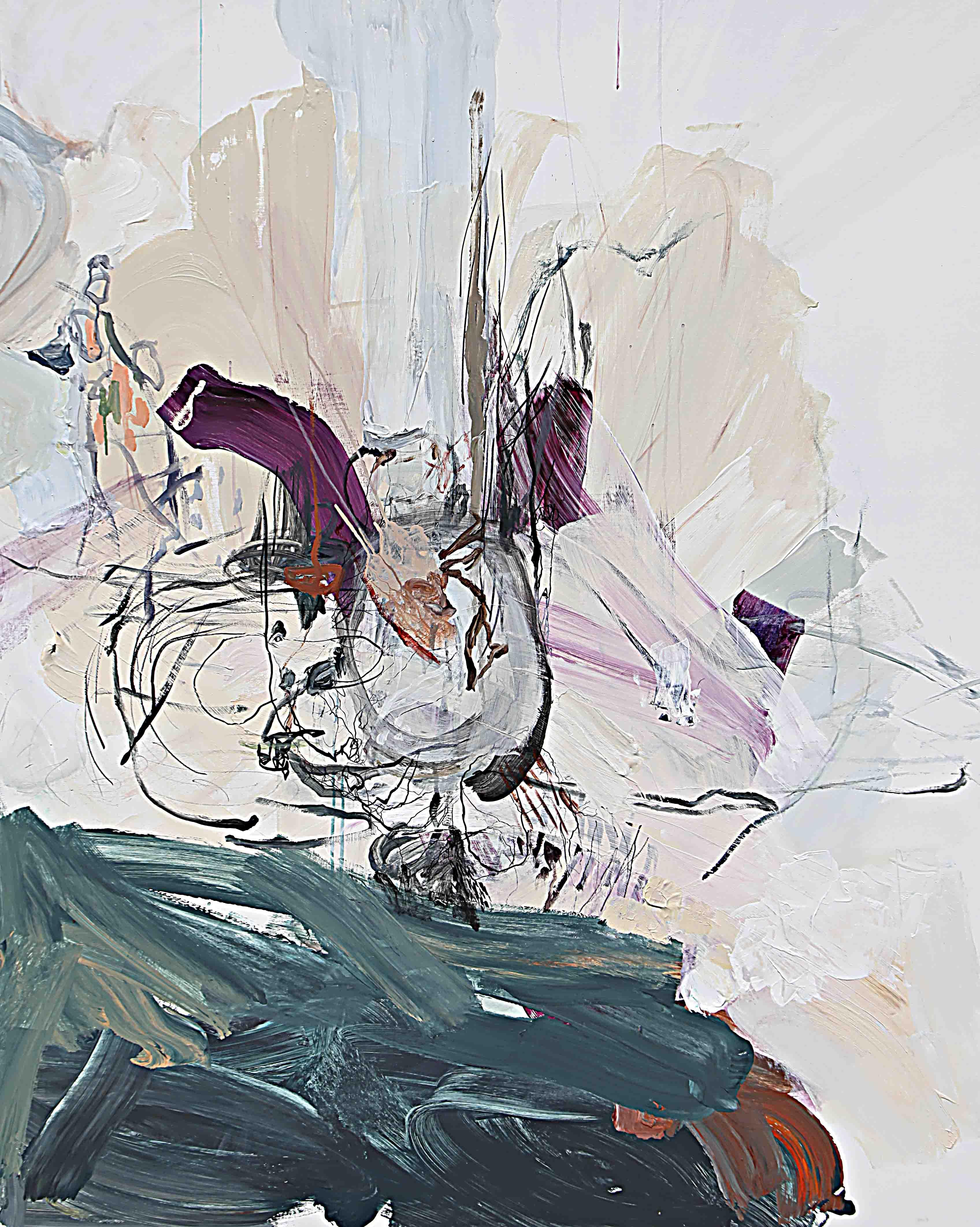사이공간10, 162.2 x 130.3 cm. pen, acrylic on canvas, 2015