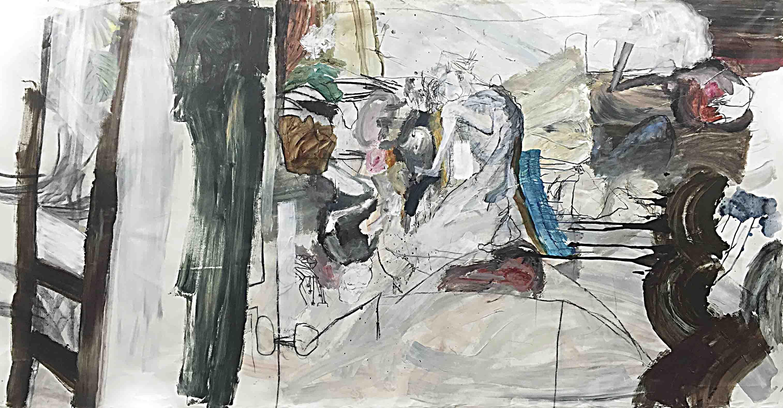 사이공간21, 163 x 326 cm. charcoal, pen, acrylic on canvas, 2016