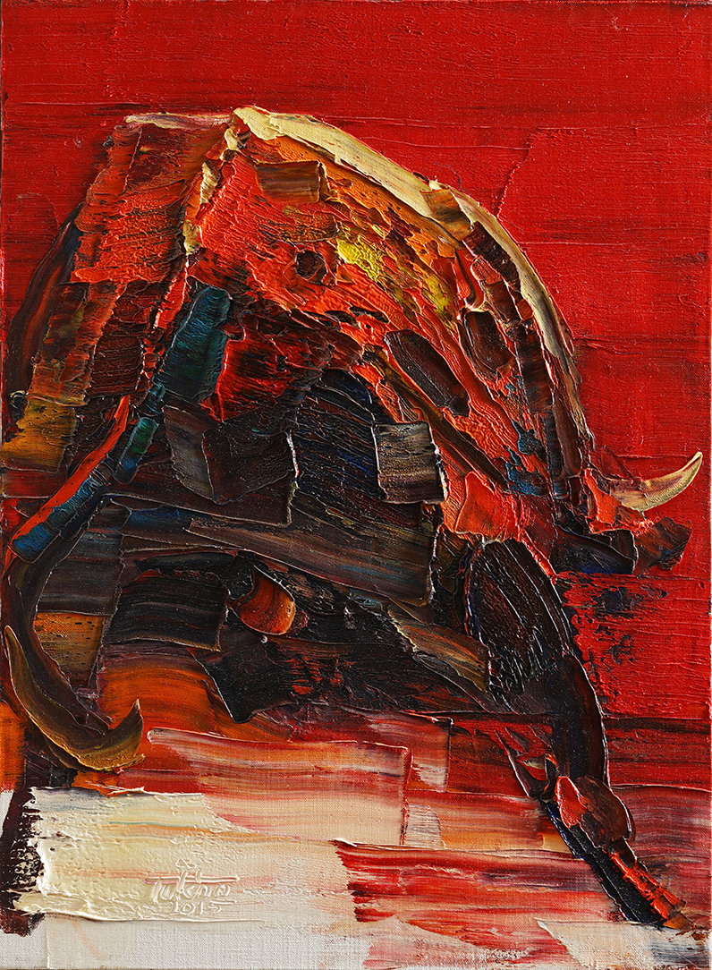 Wild aura 2015 bull 011, Oil on canvas, 72.7x53.0cm, 2015
