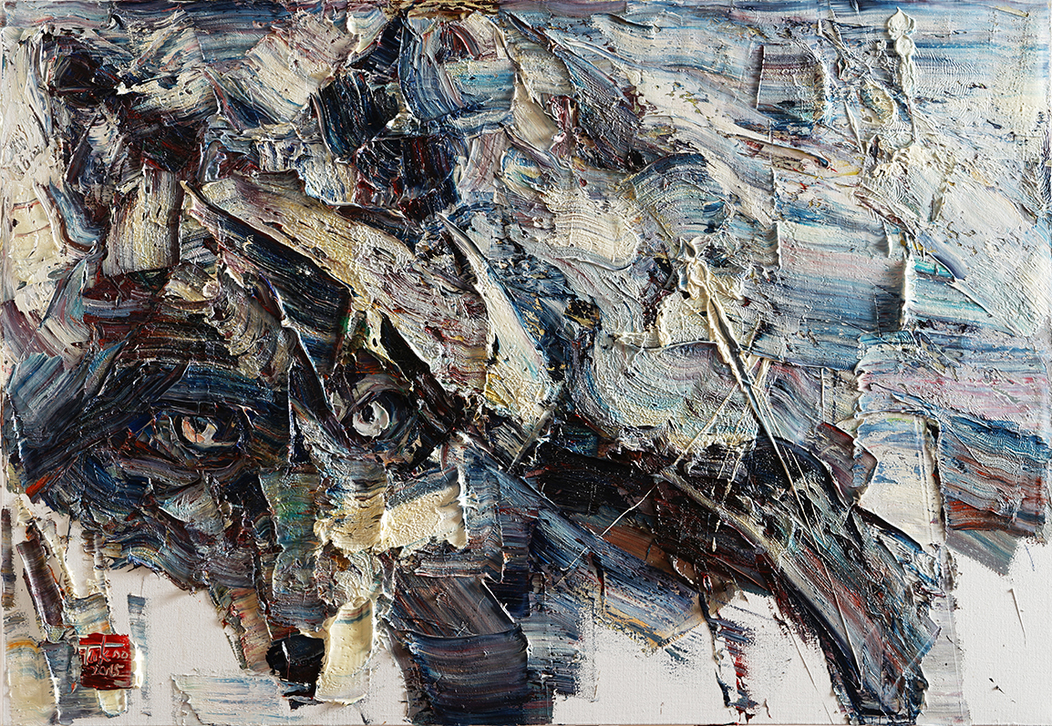 Wild aura 2015 wolf 003, Oil on canvas, 116.8x80.3cm, 2015
