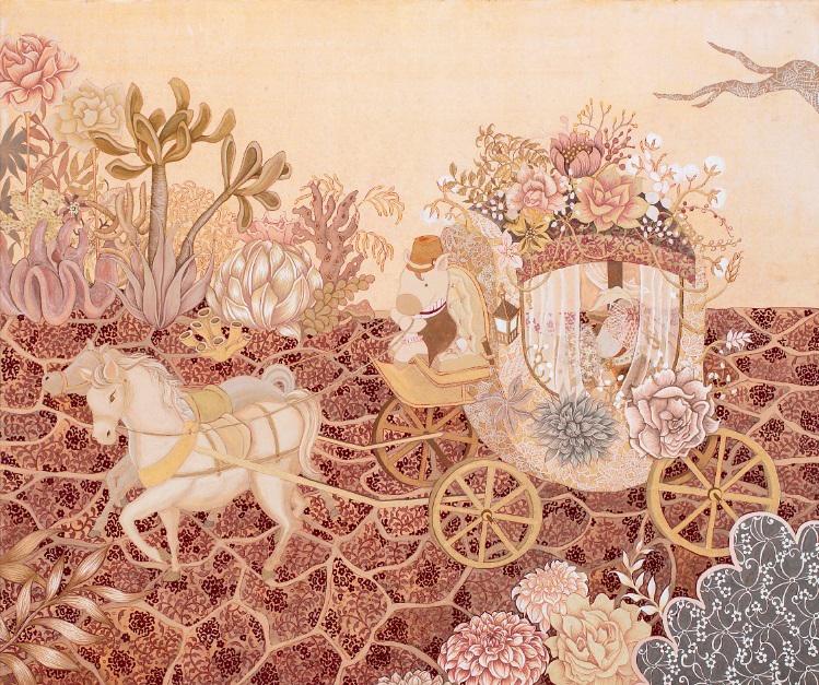 마차 탄 말, 장지에 채색, 72.5×60 cm, 2015