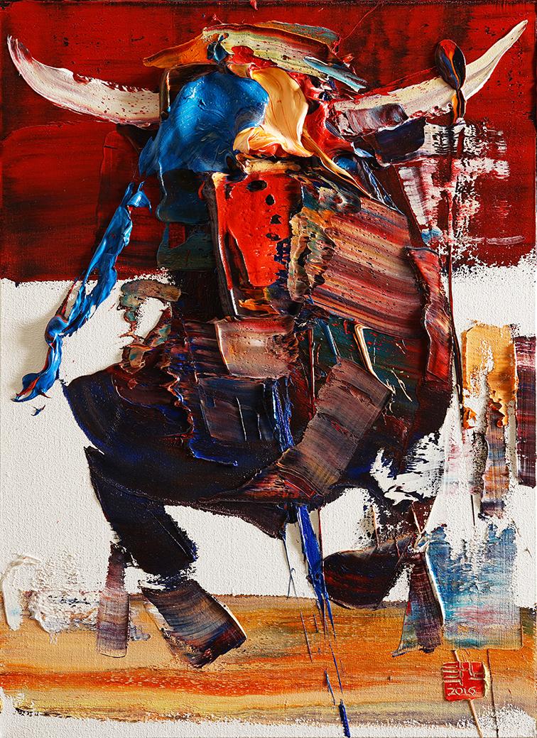 wild aura 2016 bull 002, Oil on canvas, 72.7x53.0cm, 2016