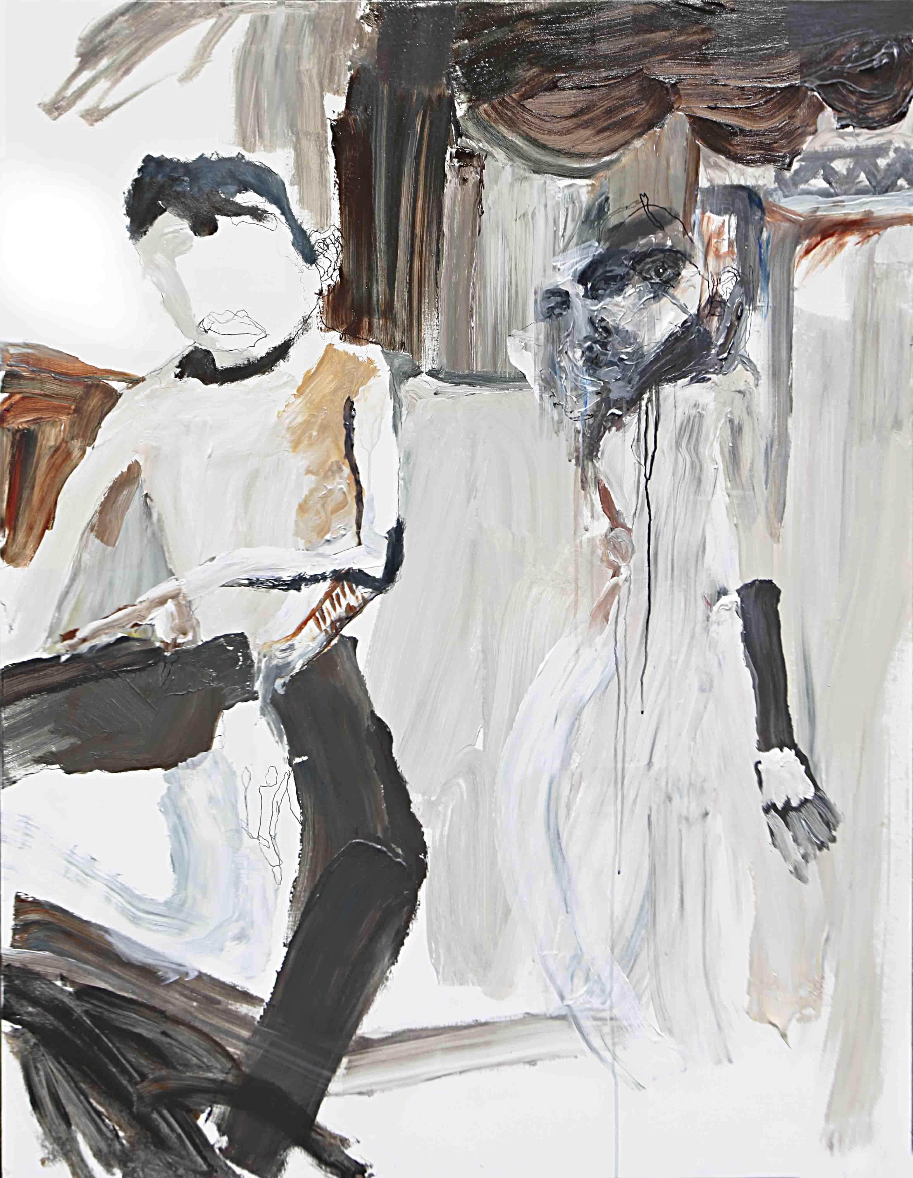 사이공간12, 145.5 x 112.2 cm. pen, acrylic on canvas, 2015