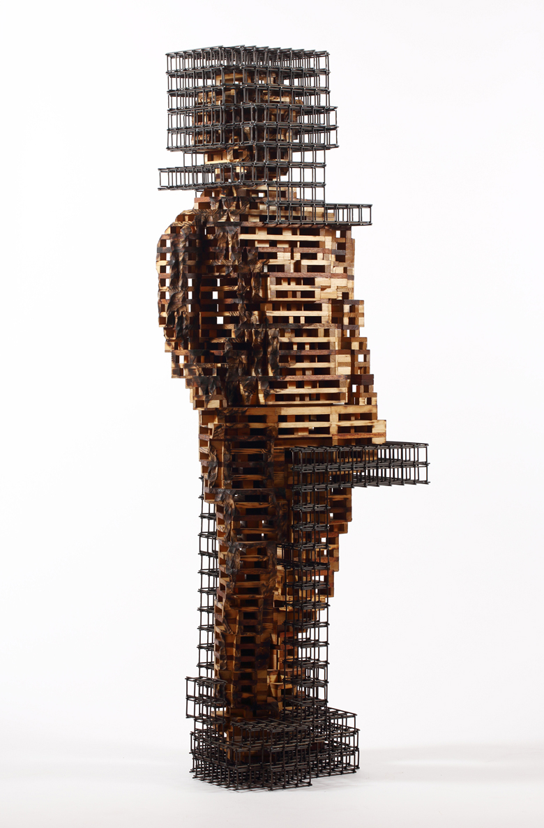 Build life-woman1(인생건축-여자1)_wood(나무),steel(철)_2014
