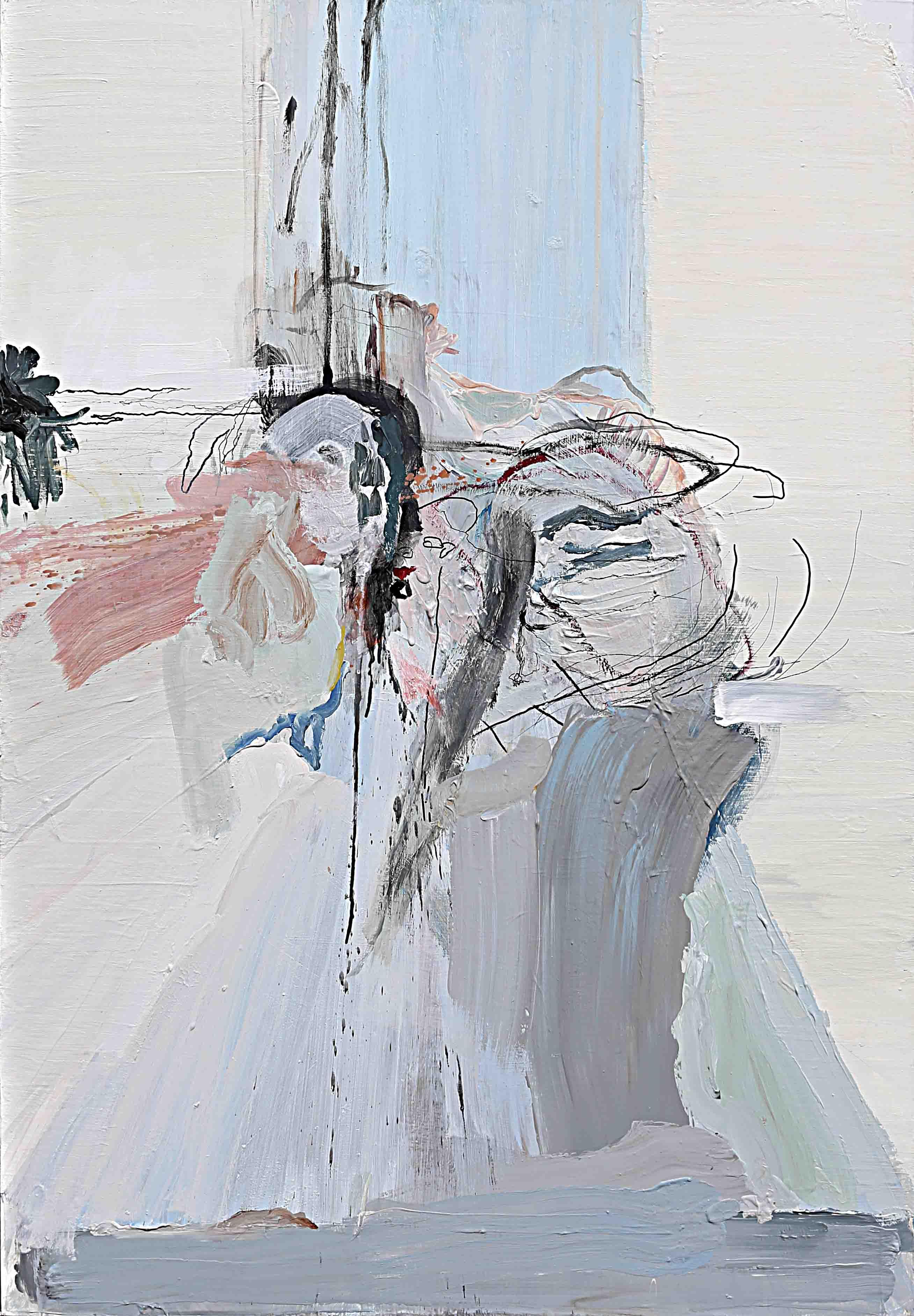 사이공간8, 130.3 x 89.4 cm. pen, acrylic on canvas, 2015