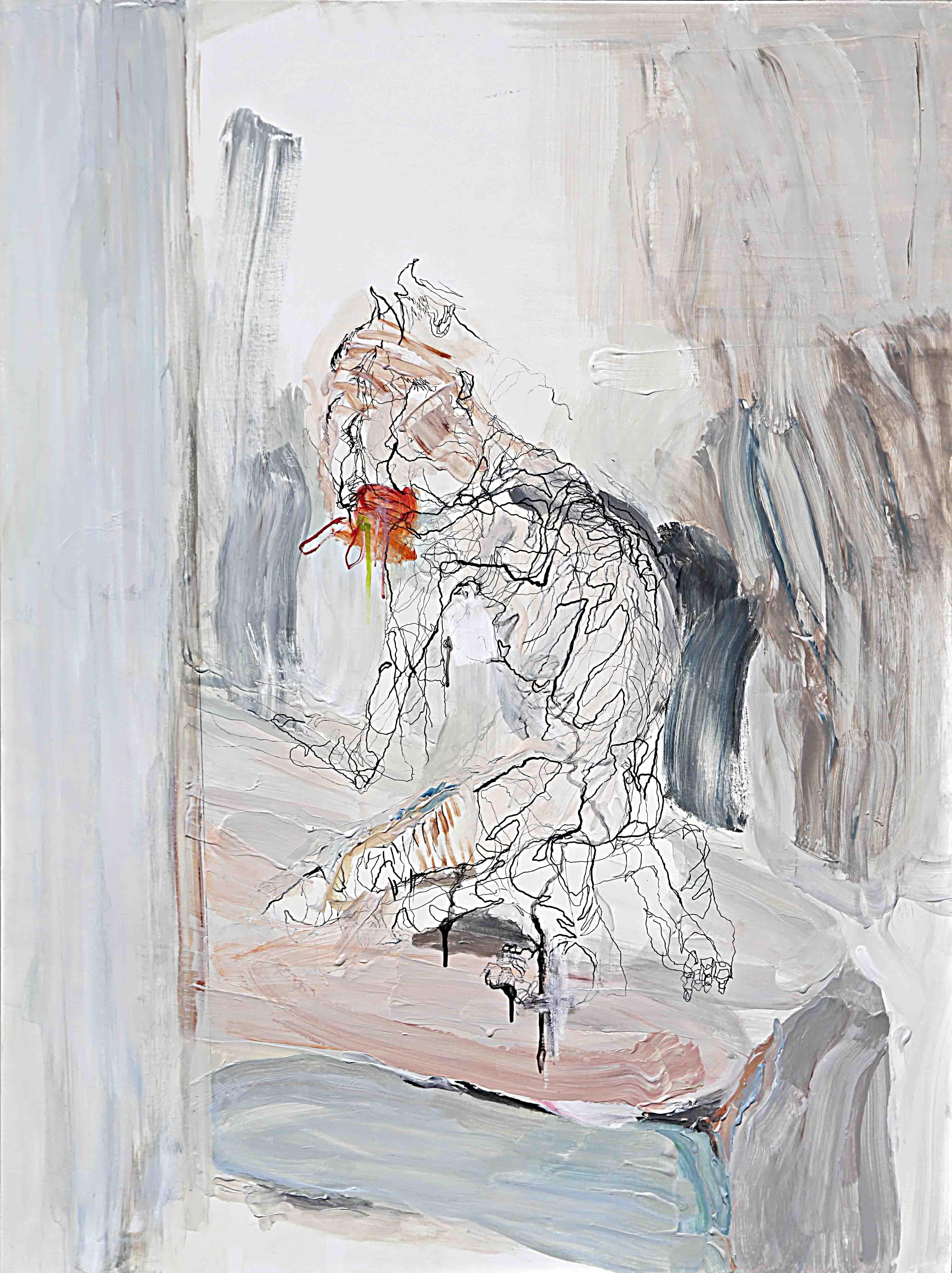 사이공간7,130.3x97.0cm.pen, acrylic on canvas, 2015
