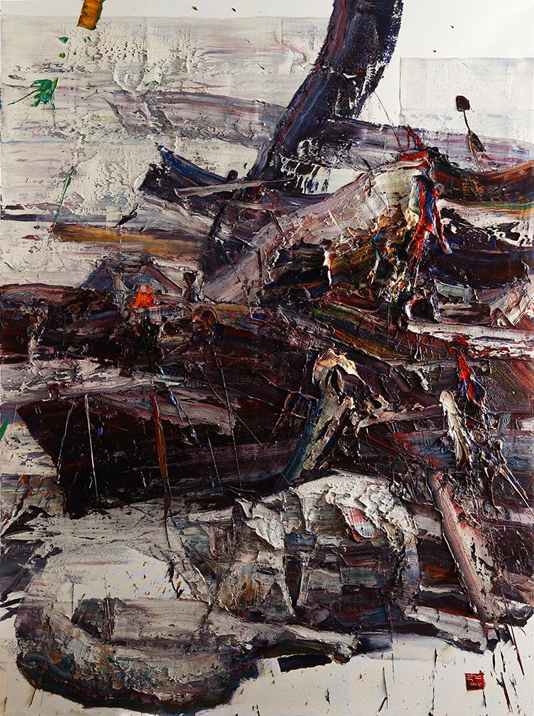Wild aura 2015 wolves 006, Oil on canvas, 259.1x181.8cm