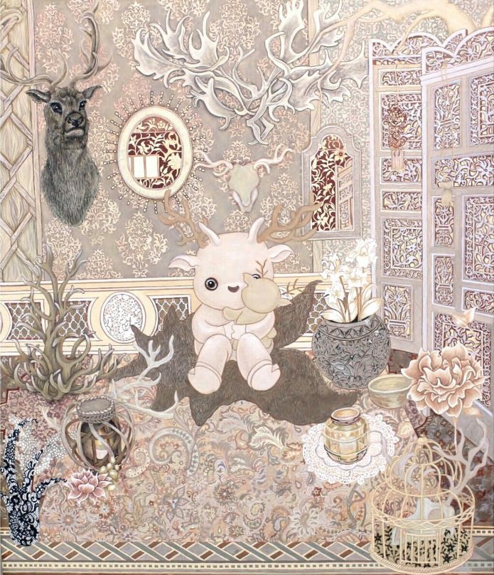 사슴의방, 장지에 채색, 45.5×37.9cm, 2015
