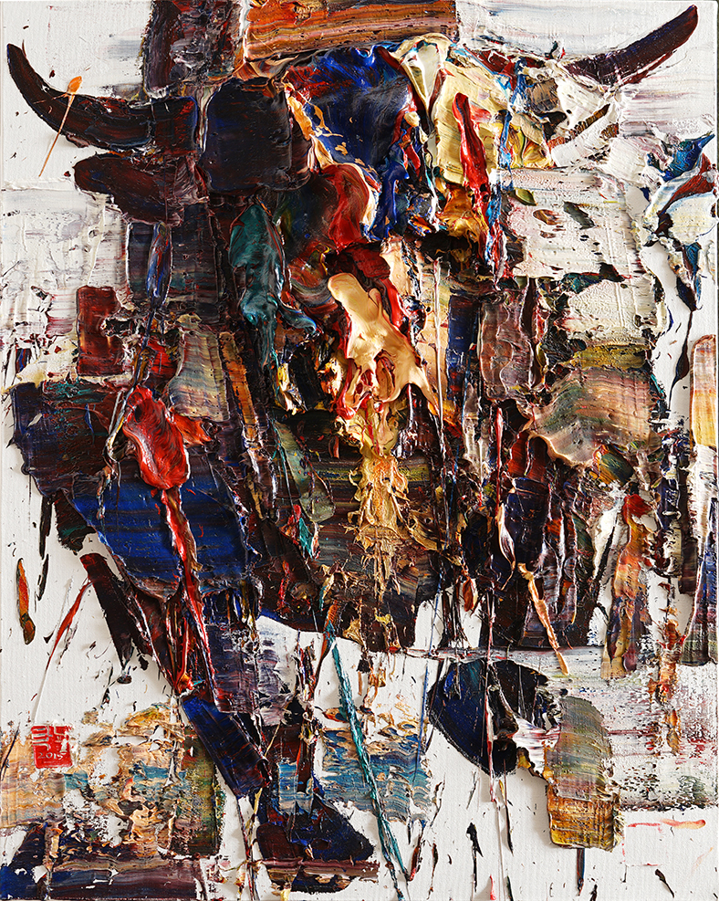 Wild aura 2015 bull 041, Oil on canvas, 90.9x72.7cm, 2015