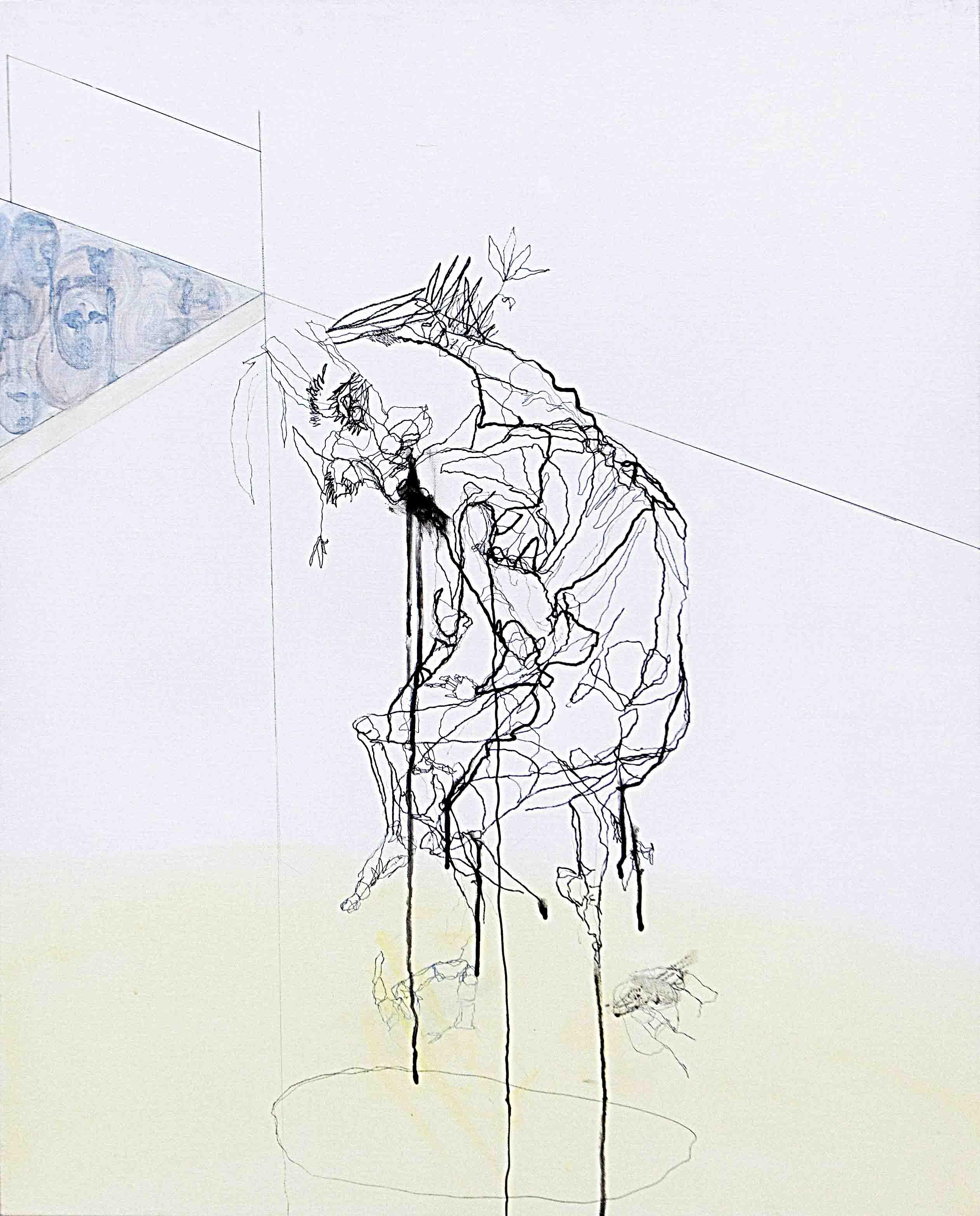 사이공간2, 90.9 x 72.7 cm. pen, acrylic on canvas, 2014