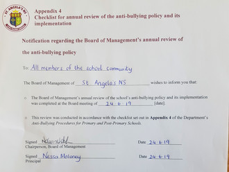 Anti-Bullying Policy reviewed, June 2019