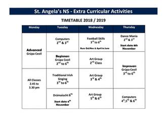 Extra Curricular Activities 2018/2019