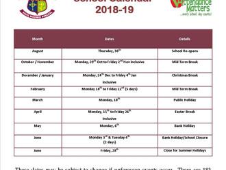 School Calendar 2018/19