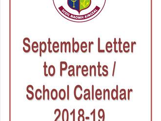 September Letter & School Calendar 2018/19