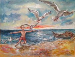 46 Enfant et oiseaux 65X80 2012