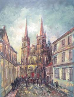 44 Cathedrale deBayeux au soir 80X60 2017