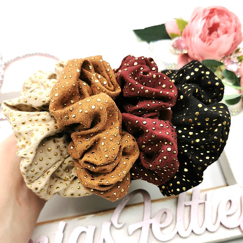 Faux Suede Studded Scrunchies