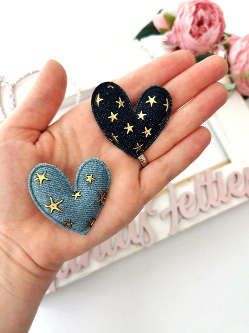 Embellishment - Padded Denim Heart