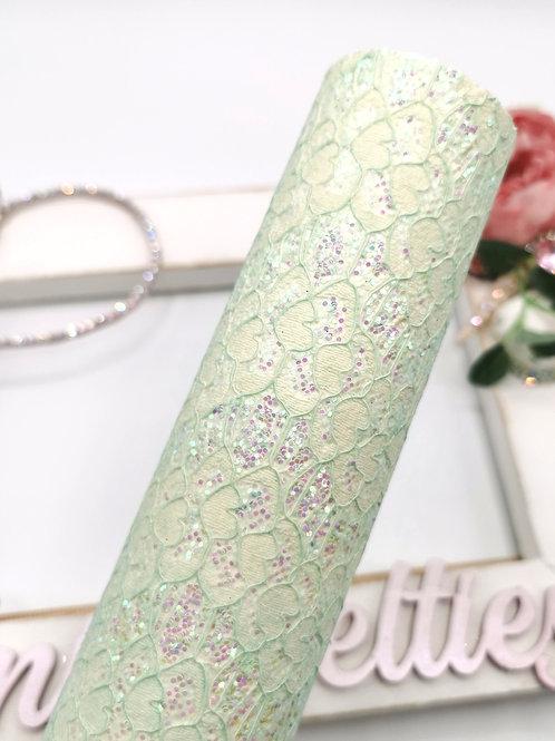 Pastel Green Glitter Lace Fabric