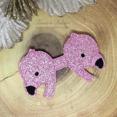 Flamingos Bow Tails (Glitter)