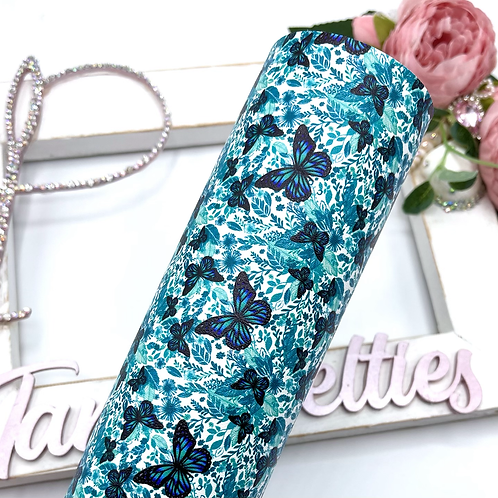 Butterfly Explosion Teal Leatherette