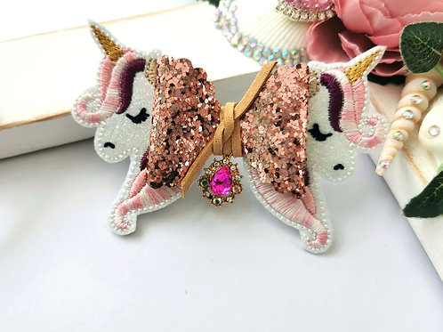 Autumn Pinks Unicorn Bow Tail (Glitter)