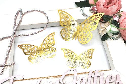 3D Transparent Butterflies - Gold