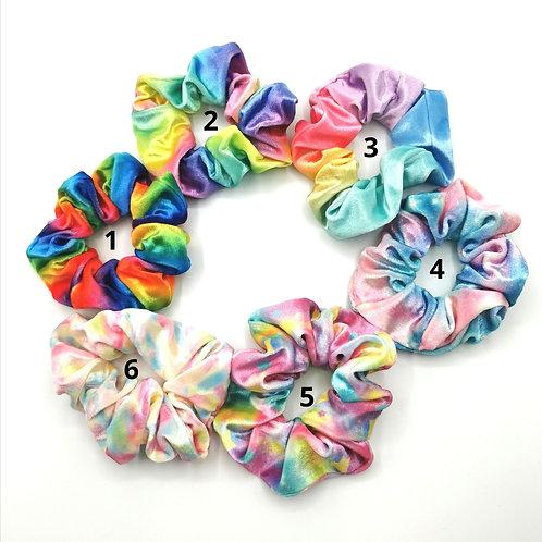 Rainbow Colours Velvet Scrunchies