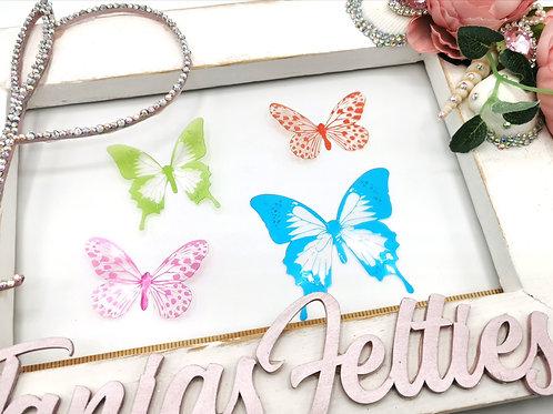 3D Transparent Butterflies - Multicoloured