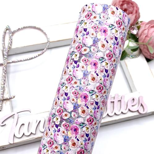 Pink Paradise Peonies Floral Leatherette