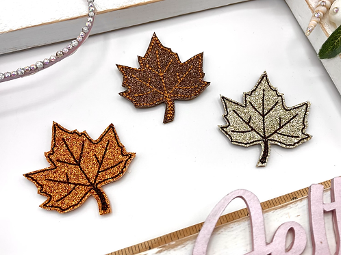Glitter Leaf Feltie