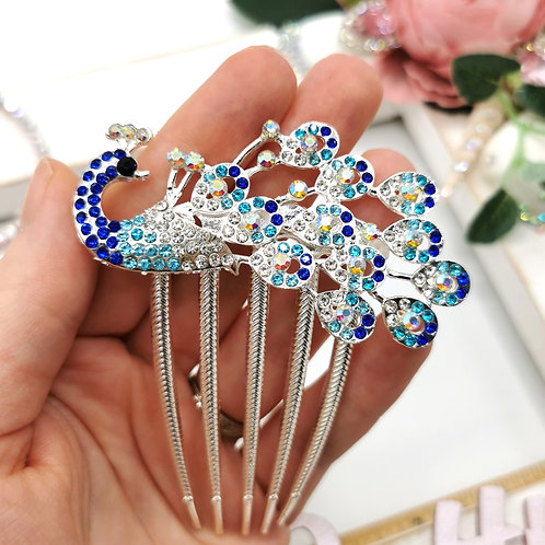 Peacock Embellished Hair Comb