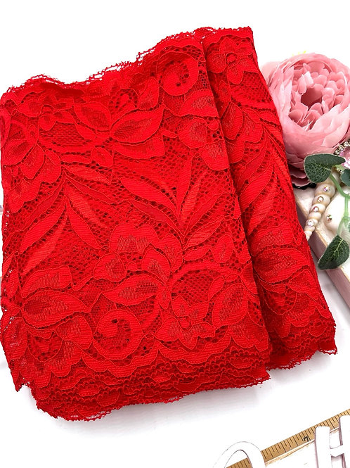 Luxury Lace Fabric Strips - Red