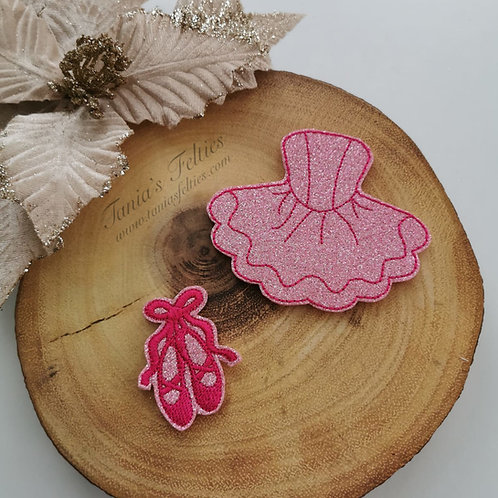 Ballet Dress & Shoes Bow Holder (Pink Glitter)