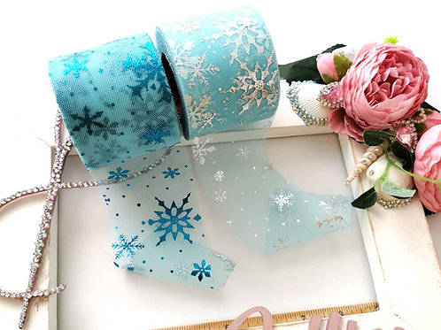 Tulle - Icy Snowflake (6cm Wide)