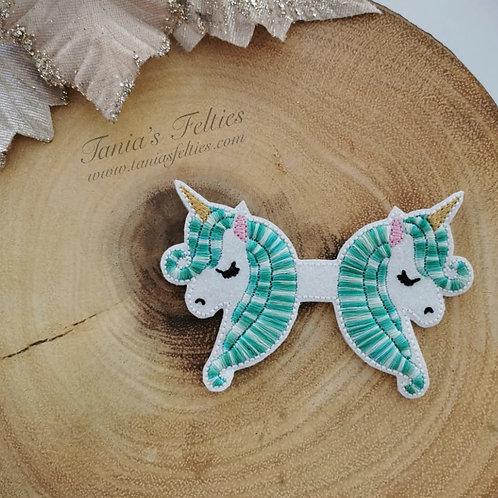 Spearmint Unicorn Bow Tails (Glitter)