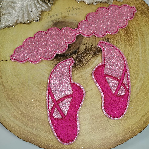 Ballet Shoes Bow Tails (Pink Glitter)